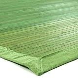 Tapis En Bambou Larges Lattes Et Ganse Vert 180x120cm Solo Bamboo - Monbeautapis - Bambou