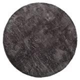 Tapis enfant pilepoil -  Rond  gris foncé D 140 cm - fausse fourrure - Fabrication Française