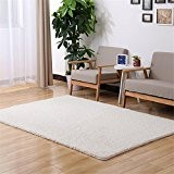 Tapis Faux Laines Peluche Forme Rectangle Tapis Super Doux Antidérapant, Blanc, 50*120cm