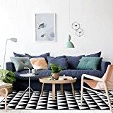Tapis géométrique noir et blanc moderne simple Tapis rectangulaire rectangulaire en forme de T Tapis dans le salon La table ...