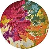 Tapis moderne Abstrait Zone Barcelone contemporain, Polypropylène, multicolore, 6 x 6 round