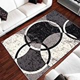 Tapis Moderne Design Cercles Gris Differentes Dimensions (160 x 230 cm)