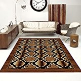 Tapis Moderne Design Serpent Marron Differentes Dimensions (180 x 250 cm)