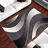 Tapis Moderne Design Vagues Gris Differentes Dimensions (140 x 200 cm)