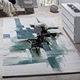 Tapis moderne écran Jeté De Peinture Tapis de Marque Turquoise Crème, Dimension:80x150 cm