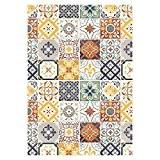Tapis Motifs Carreaux De Ciment Jaune 45x75cm Toodoo - Monbeautapis - Polyester extra doux
