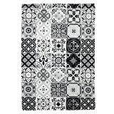 Tapis Motifs Carreaux De Ciment Noir 40x60cm Toodoo - Monbeautapis - Polyester extra doux