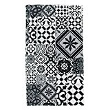 Tapis Motifs Carreaux De Ciment Noir Gris 40x60cm Toodoo - Monbeautapis - Polyester extra doux