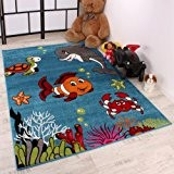 Tapis Pour Enfant Poisson-Clown Turquoise Chambre d'enfant Tapis Motif Turquoise, Dimension:80x150 cm