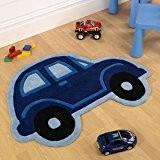 Tapis pour enfants Motif Cars Bleu Beetle Tapis pour enfant en forme de voiture