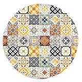 Tapis Rond Motifs Carreaux De Ciment Jaune Diam. 90cm Toodoo - Monbeautapis - Polyester extra doux