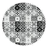 Tapis Rond Motifs Carreaux De Ciment Noir Diam. 60cm Toodoo - Monbeautapis - Polyester extra doux