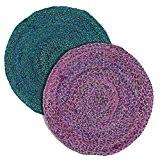 Tapis ronds de 90 cm et 100% jute 2 couleurs - Bleu