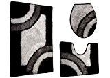 Tapis Salle de Bain WC Set de 3toilettes Tapis de bain microfibre. Set Tapis de sol Cuvette de WC Noir/blanc/gris