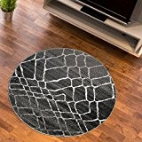 Tapis Salon Cercle LOSANGES EN MOUVEMENT Anthracite Différentes Dimensions S-XXL (130 x 130 cm)