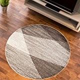 Tapis Salon Cercle SABLE Teintes de Beige Différentes Dimensions S-XXL (100 x 100 cm)