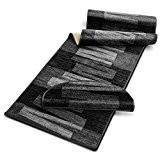 Tapis salon design casa pura® gris foncé | dos antiderapant | 100% polyamide doux | Veneto - 67x150cm