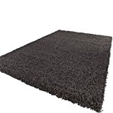 Tapis Shaggy Longues Mèches En Anthracite, Dimension:Ø 80 cm Rond