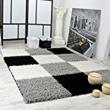 Tapis Shaggy Longues Mèches Hautes Carreaux Gris Noir Blanc, Dimension:70x250 cm