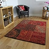 Tapis Traditionnel Rouge, Marron & Gris - 5 Tailles Disponibles