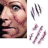 Tatouages ??Temporaires (10 feuilles) - Halloween Zombie Scars Tatouages ??Autocollants avec Fake Scab Blood Spécial Fx Costume Maquillage Props