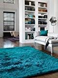 Teal foncé Tapis Turquoise moderne tapis Designer Shaggy Shaggy Walney