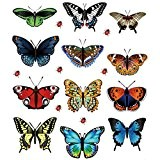 Tefamore Nouveau décoration paysagère en forme de coeur autocollants 12 autocollants papillon
