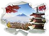 temple japonais à l'automne, papier 3D sticker mural taille: 62x45 cm décoration murale 3D Stickers muraux Stickers