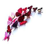 Tera Set de 12 stickers mureaux de papillons 3D decorations Pour chambre Salon etc (violet)