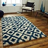 Think Rugs Royal Nomade 5456 Tapis à poils longs, bleu/beige, 120 x 170 cm