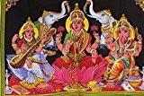 Tissu en coton Mangue Gifts déesse Ganesh, Laxmi/Lakshmi et Saraswati 78,7x 101,6cm Tapisserie Inde avec paillettes travail