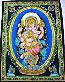 Tissu en coton pour Yoga Motif Ganesh dansant 30 cm X 43 cm de l'Inde