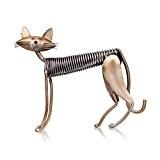 Tooarts Chat Sculpture en Métal Fer Domestique Art Artisanat Décoration Maison Ameublement Ornements