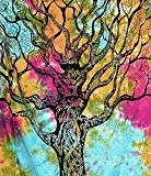 Tree-of-life Tie-Dye Multicolore Throw-bedspread Twin-wall-hanging-tapestry