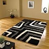 Très grande qualité Gris Design Moderne Shaggy Noir Tapis en 160x 230cm (5'7,6cm x 7' 17,8cm) Tapis