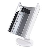 Trifold Dimmable Makeup Mirror with 16 LED Beads, Foldable Vanity Mirror with Kickstand and Touch Screen Dimming, USB and Batteries ...