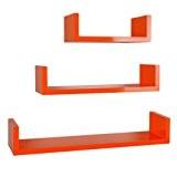 ts-ideen Lot de 3étagères design rétro cube Lounge en orange en différentes tailles avec forme angulaire