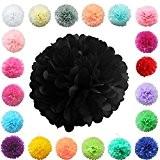 TtS 10 Pièces 15cm Tissu Papier Pompons Boules Fleurs Papier Soie Boule Balle Mariage Fête Décoration - Noir