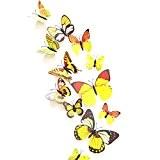 UK Deals Lot de 12 stickers muraux 3D Motif papillons, jaune, 1 - Pack