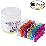 UKCOCO 60 Punaises Magnétiques de Couleur Assortie - Aimants parfait pour les cartes, Tableaux blancs, Réfrigérateurs
