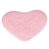 Ularma Joli amour coeurs formes tapis 40 * 28cm anti-dérapant bain tapis cuisine salle de bain décoration (rose)