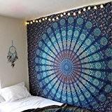 Unique Collection par rawyalcrafts badmeri indien Mandala hippie Tapisserie, reine paon plumes barmeri Mandala Home Decor couvre-lit