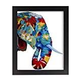 UQ Papier peint photo 20x25cm + Cadre photo mural En bois Tableau Poster Peinture Décoration murale Multicolore Eléphant
