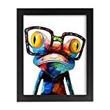 UQ Papier peint photo 20x25cm + Cadre photo mural En bois Tableau Poster Peinture Décoration murale Multicolore Grenouille