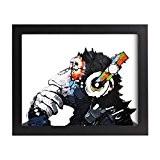 UQ Papier peint photo 20x25cm + Cadre photo mural En bois Tableau Poster Peinture Décoration murale Multicolore Chimpanzé