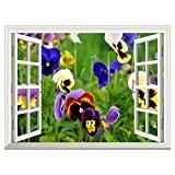 UQ Poster mural En vinyle papier peint-Auto-adhésif-61x81cm-Trompe l'oeil fenêtre-Removable-Fleurs-Décoration murale