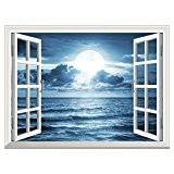 UQ Poster mural En vinyle papier peint-Auto-adhésif-91x122cm-Trompe l'oeil fenêtre-Removable-Lune sur la mer-Décoration murale