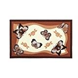 UQ Tapis de cuisine Antiderapant et lavable Paillassons pour entrée 50x80cm Vintage Papillons Marron
