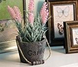 URAQT Fleurs Artificielles Décoratif , Lavande Plantes avec Pot en Bois, Creative Décoration Bonsai pour Jardin / Maison, d'intérieur ou ...