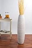 Vase décoratif en terre et bois - 75cm (blanc)